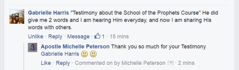 School of the Prophets Training Course Apostle Michelle Peterson